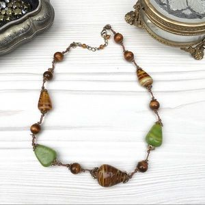 Green & brown beaded necklace